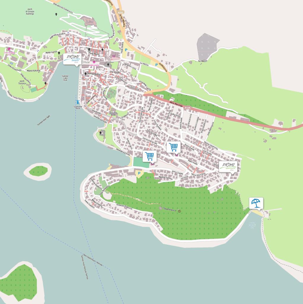 Primi Hvar mapa