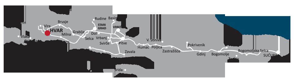 Hvar ostrvo mapa