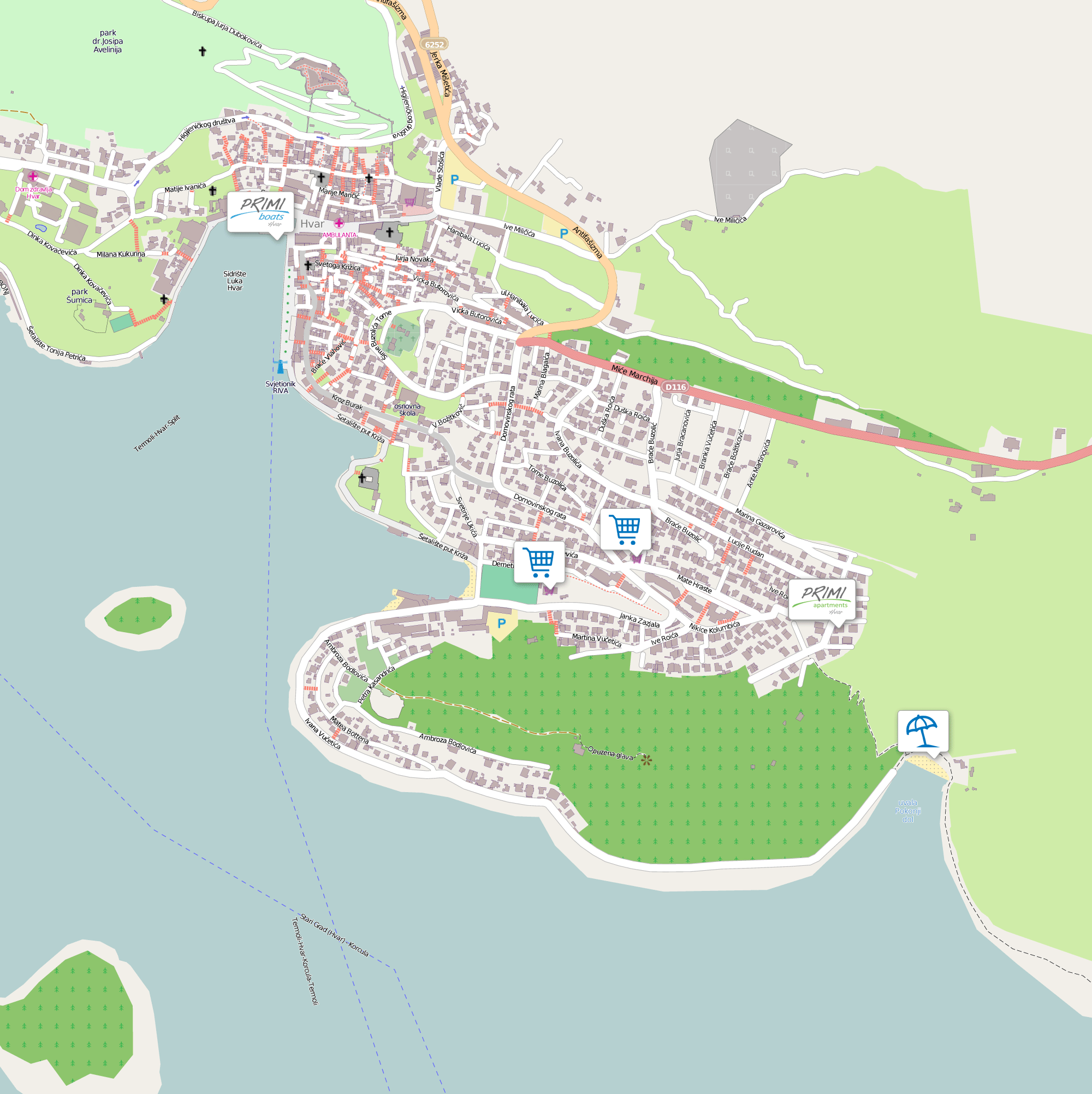 hvar mapa Where are we | Primi Hvar hvar mapa